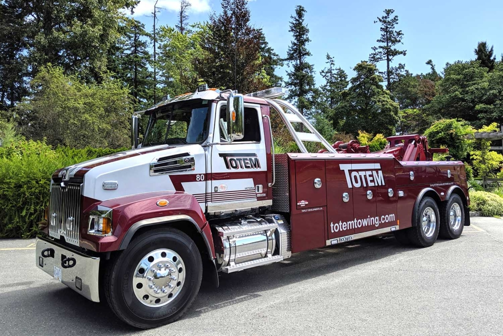 large red Totem Towing truck